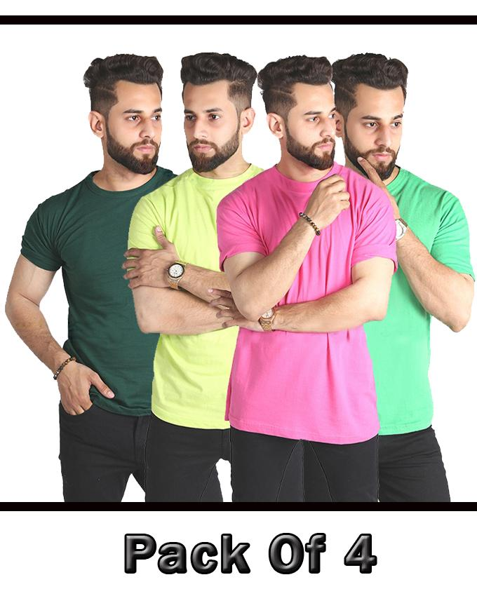 Pack Of 4 Round Neck Multicolor T Shirt For Men