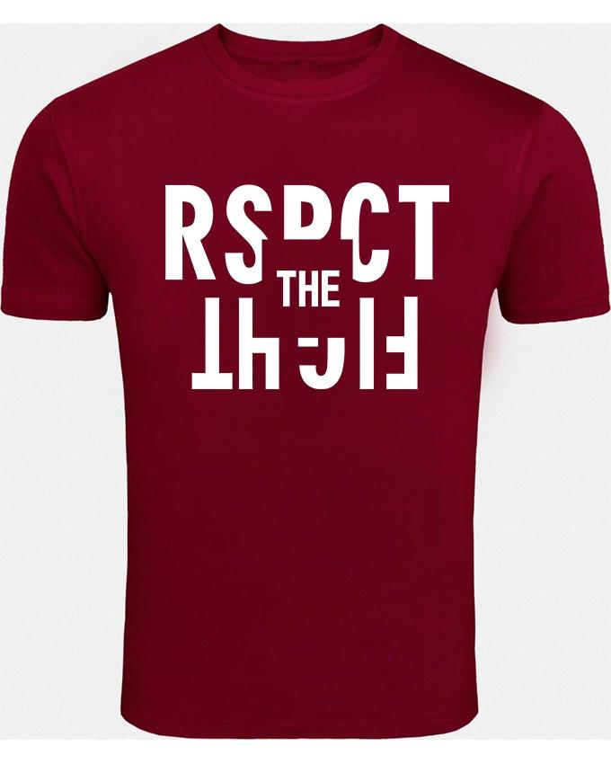 Maroon Rspct The Fight Printed T-shirt For Men