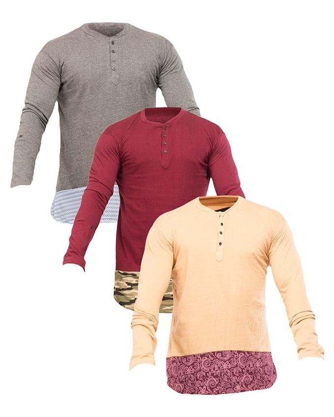 Maroon , Cream , Charcol -Pack of 3 front Button Style T-shirts - Paksa Pk