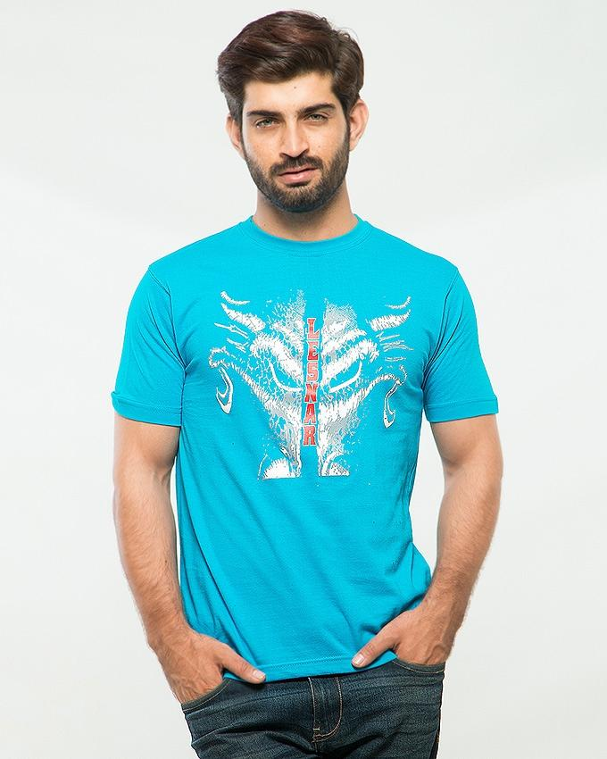 Sky Blue Cotton The Leaser Printed T-shirt For Men