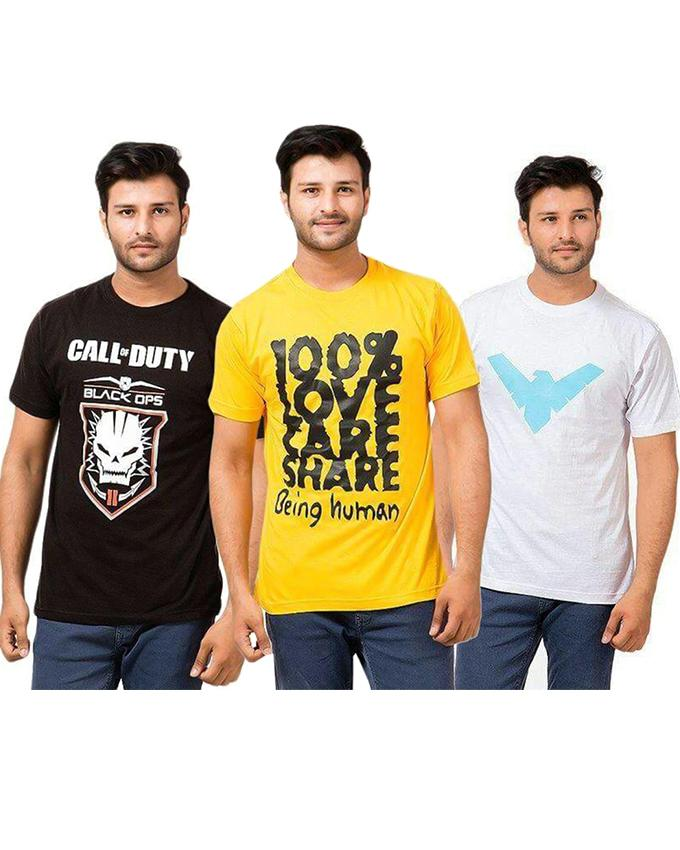 Pack Of 3 Yellow, Black & White Printed T-Shirt For Men