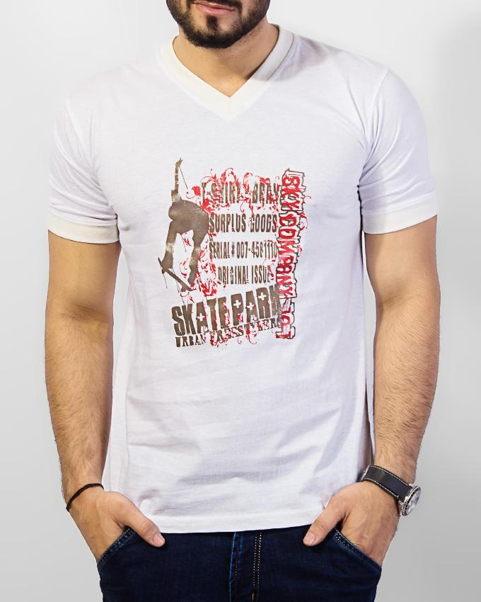 White Cotton with Decent Print T Shirt For Men