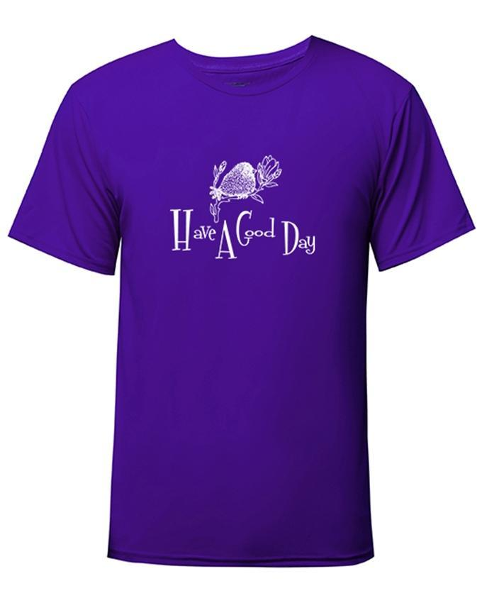 Purple Have A Good Day Printed T-shirt For Men - Paksa Pk