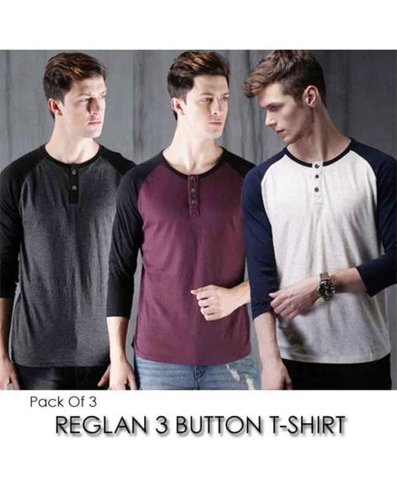 Pack Of 3 Raglan Button T-Shirts For Men