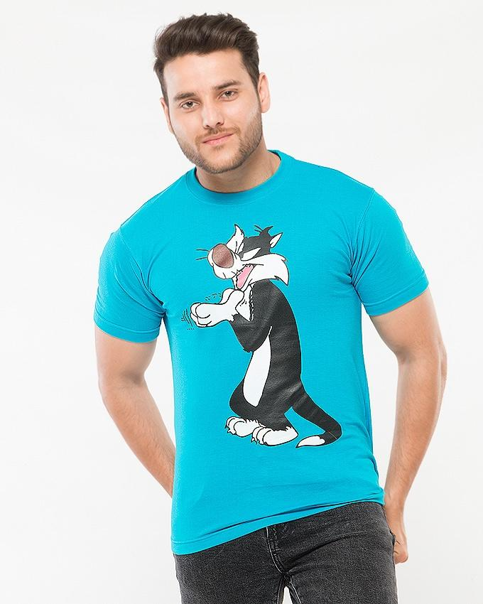 Sky Blue Cotton Tom Cartoon Printed T shirt For Men - Paksa Pk