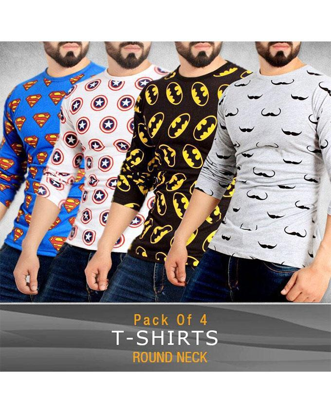 Pack Of 4 - Round Neck Printed T-Shirt For Men