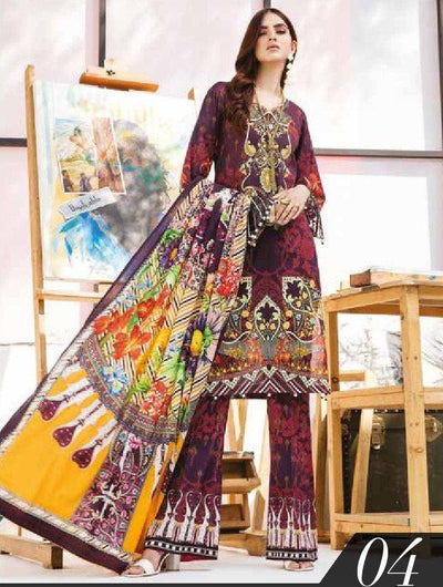 GJ COLLECTION DIGITAL PRINTED LUXURY LAWN 3 PIECE UNSTITCHED 04 - Paksa Pk