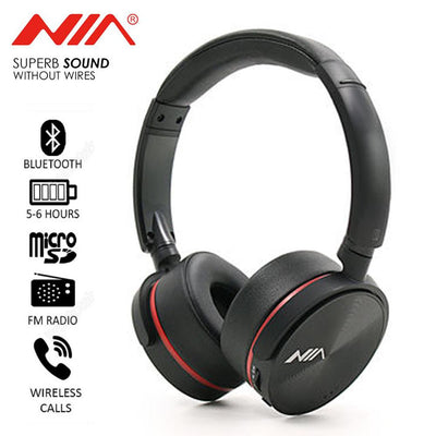 NIA Q6 new bluetooth wireless and wired headphone with micro sd-tf card for android and iso - Paksa Pk
