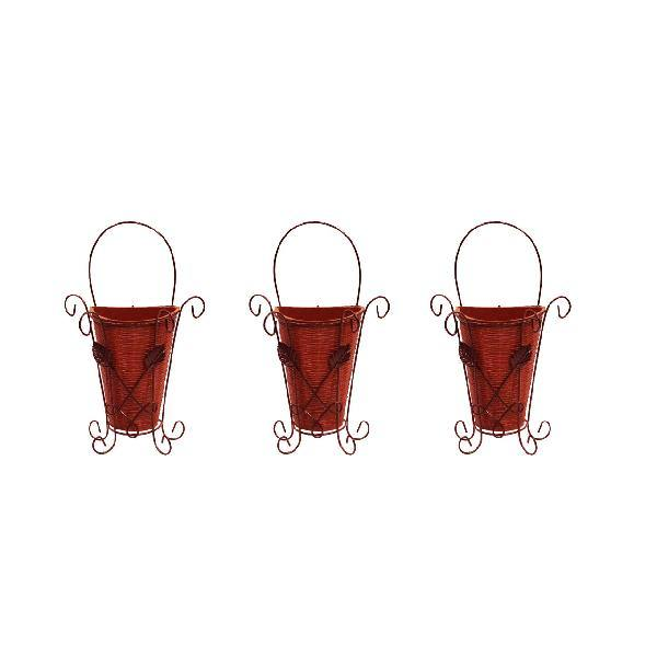 Pack of 3 Hanging Wall Pots With Wrought Iron Brackets