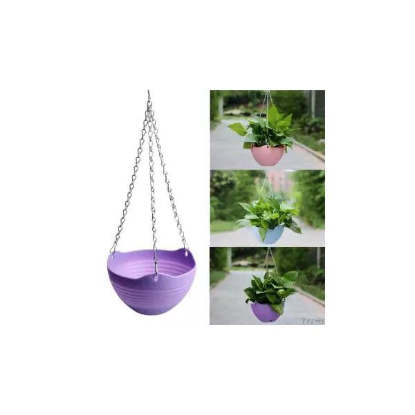 Pack of 4 Plastic Hanging Pots for Flowers with Chain
