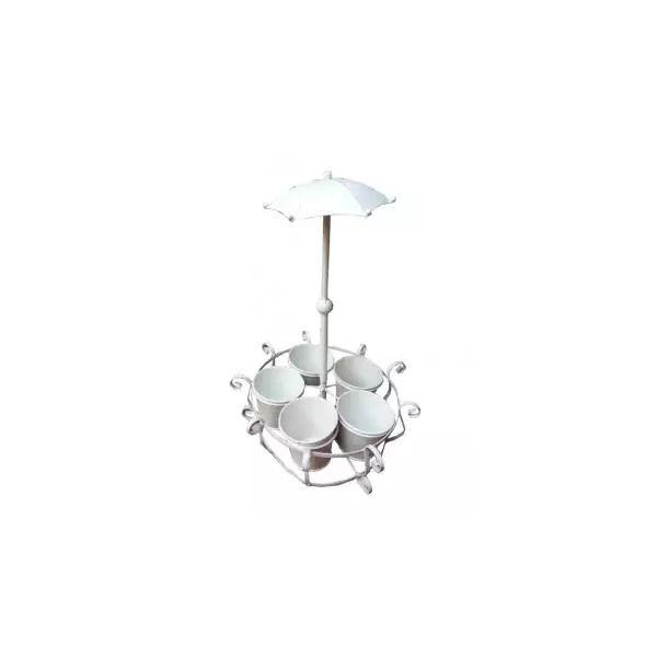 Metal Planter Holder with Stand and Umbrella - White