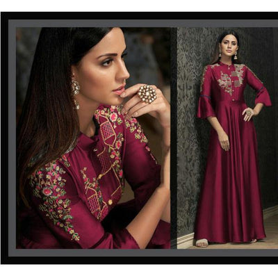 Full Embroidered Silk Mexi Dress for Women