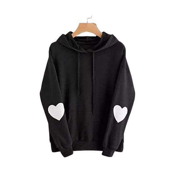 Black Heart Printed Sleeves Winter Hoodie for Unisex