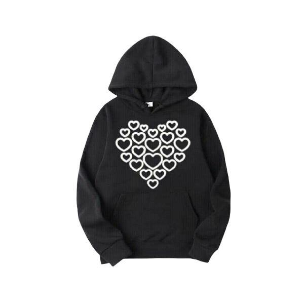 Hearts Printed Fleece Winter Hoodie for Unisex