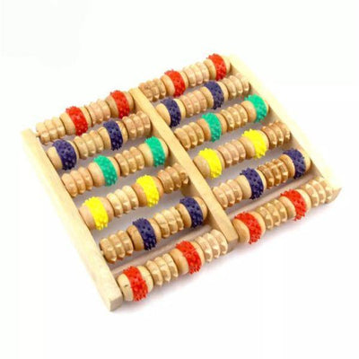 Colorful Round Massage Roller Stress Relief Wooden Roller Foot Massager