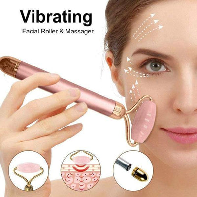 2 in 1 Rose Quartz Vibrating Roller and Eye Press
