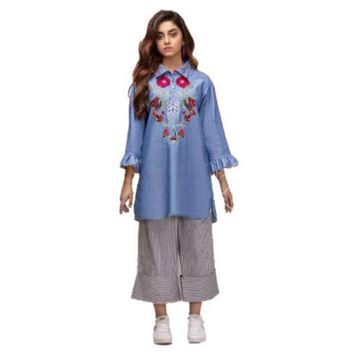 Red Flowers Embroidered Short Sleeves Soft Denim Shirt for Women