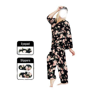 4 Pc Floral Print Night Dress With Slipper and Eyeband