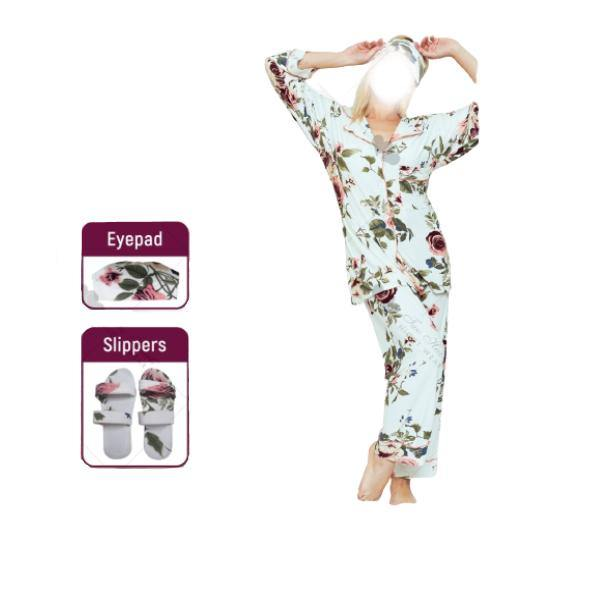 4 Pc Comfy Nightdress With Slipper and Eyeband-White - Paksa Pk