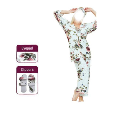 4 Pc Comfy Nightdress With Slipper and Eyeband-White