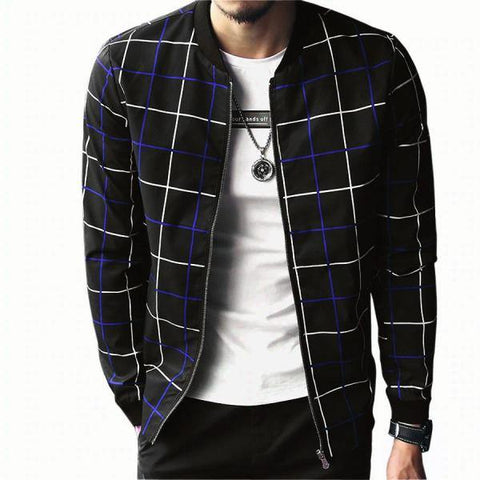 Bomber Zipper Cheque Upper Jacket for Men
