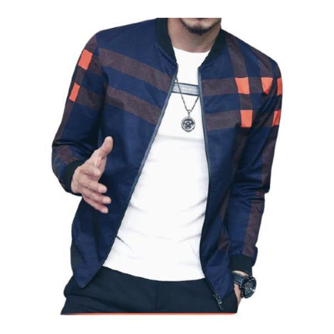 Cool Simple Printed Plaid Zipper Bomber Jacket