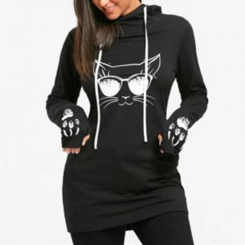 Meow Print With Thumb Sleeves Hoodie For Women