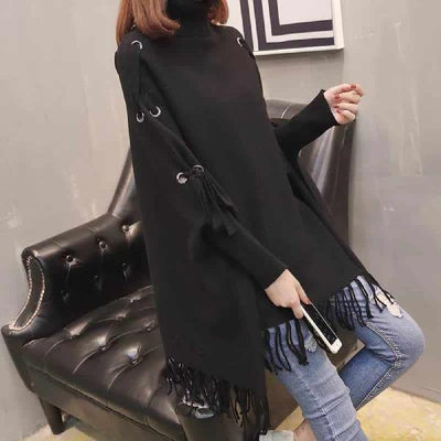 Women's Loose Sweater High Neck Knit Shawl
