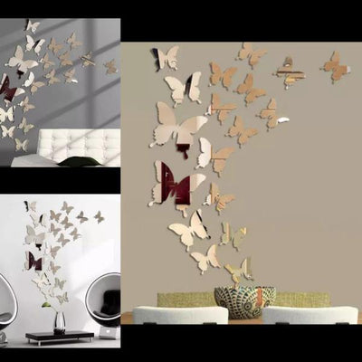 3D Delicate Stunning Acrylic Mirror Butterfly Wall Stickers - Paksa Pk