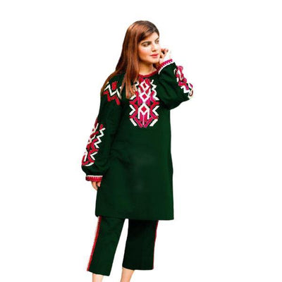 2 pcs Heavy 4 Side Embroidered Green Dress for Women - Paksa Pk