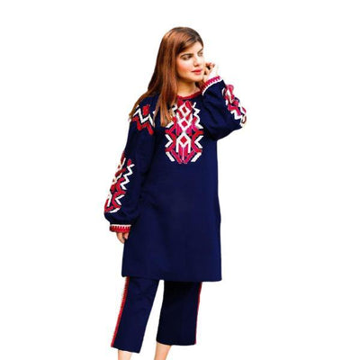 2 pcs Heavy 4 Side Embroidered Navy Dress for Women - Paksa Pk