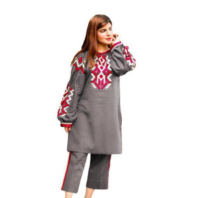 2 pcs Heavy 4 Side Embroidered Gray Dress for Women - Paksa Pk