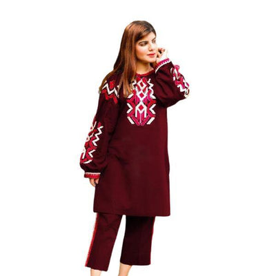 2 pcs Heavy 4 Side Embroidered Maroon Dress for Women - Paksa Pk