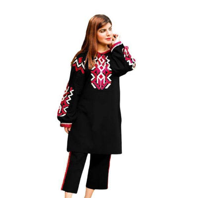 2 pcs Heavy 4 Side Embroidered Black Dress for Women - Paksa Pk