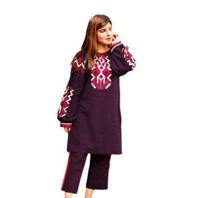 2 pcs Heavy 4 Side Embroidered Dark Mauve Dress for Women - Paksa Pk