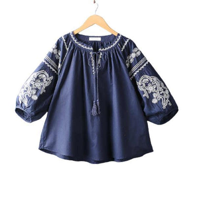 Ethnic Vintage Loose Sleeves Embroidery Lace Up Blouse Shirt - Paksa Pk