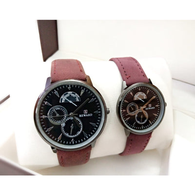 Reward Analog Watch with Leather Straps for Couples