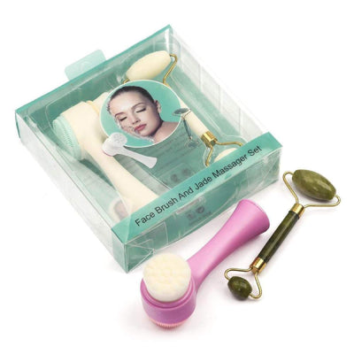 Pack of 2 - Face Brush and Jade Massager