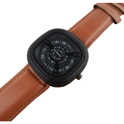 Sevenday Brown Leather Strap Analog Watch