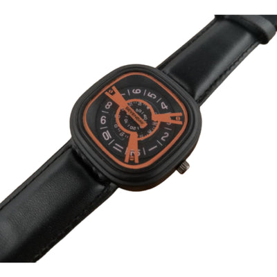 Sevenday Black Leather Strap Analog Watch