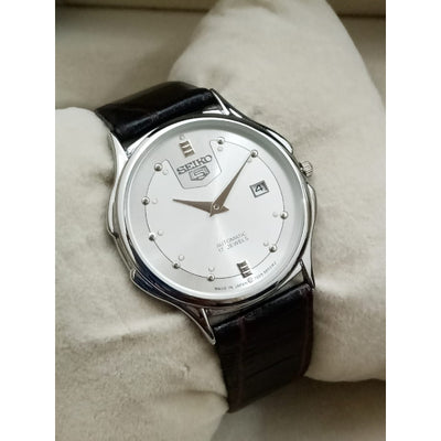 Seiko 5 Classical Automatic Analog Watch with Leather Straps