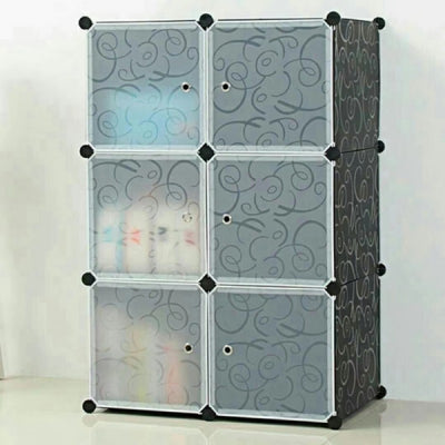 6 Cube Plastic Organizer Wardrobe With Doors