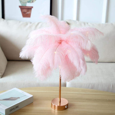 Modern LED Remote Control Feathers Table Lamps for Bedroom