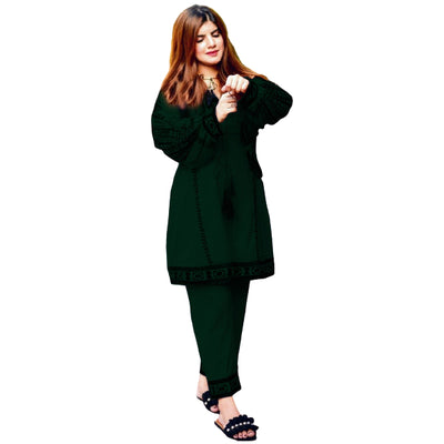 Heavy Front Embroidered Kurti with Embroidered Trouser