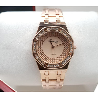 Revelry Stainless Steel Round Dial Rose Gold Watch for Women