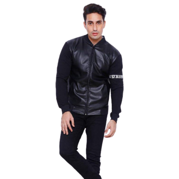 Men's Bomber Baseball PU Leather Jacket with Fleece Sleeves