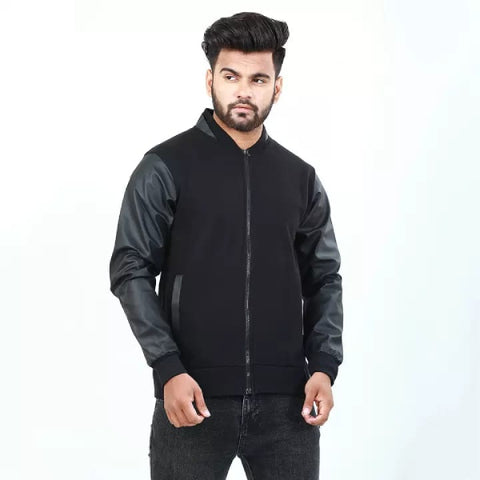 Varsity Jacket with Leather Sleeves for Men