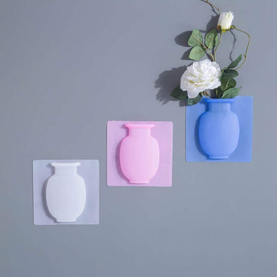 Magic Rubber Silicone Sticky Flower Wall Hanging Vase Container Floret Bottle