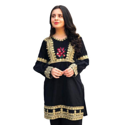 2 Pcs Neck and Daman Embroidered Dress