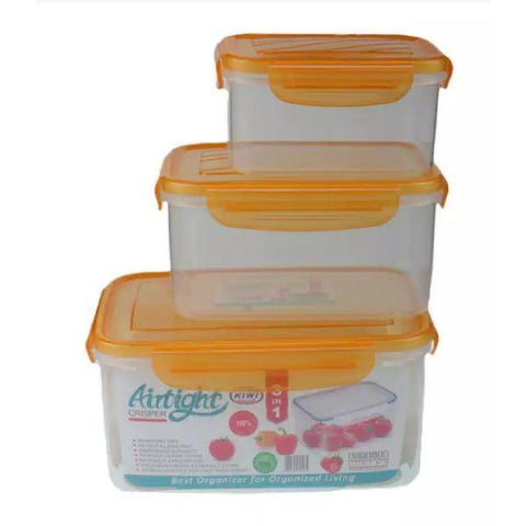 Airtight Storage Box With 4 Sided Rubber Sealed Locks-Set of 3